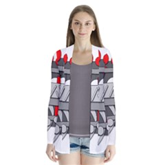 Gray and red geometrical design Drape Collar Cardigan