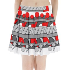 Gray and red geometrical design Pleated Mini Skirt