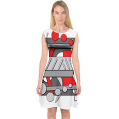 Gray And Red Geometrical Design Capsleeve Midi Dress