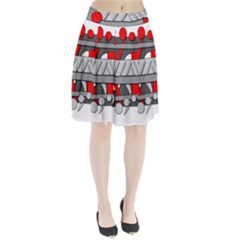 Gray and red geometrical design Pleated Skirt