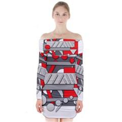 Gray And Red Geometrical Design Long Sleeve Off Shoulder Dress