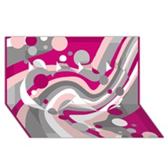 Magenta, pink and gray design Twin Hearts 3D Greeting Card (8x4)