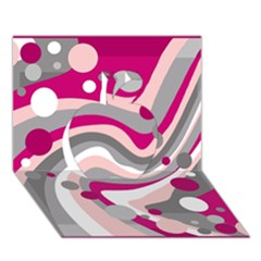 Magenta, pink and gray design Apple 3D Greeting Card (7x5)