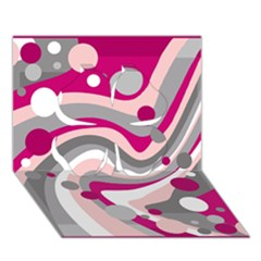 Magenta, pink and gray design Clover 3D Greeting Card (7x5)