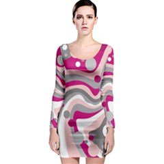 Magenta, pink and gray design Long Sleeve Bodycon Dress