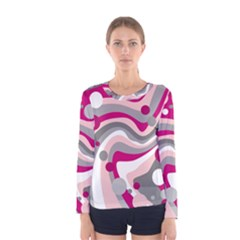 Magenta, pink and gray design Women s Long Sleeve Tee