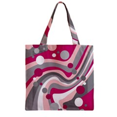 Magenta, pink and gray design Zipper Grocery Tote Bag