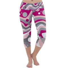 Magenta, pink and gray design Capri Yoga Leggings