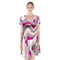 Magenta, pink and gray design Short Sleeve V-neck Flare Dress
