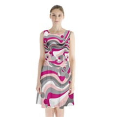 Magenta, Pink And Gray Design Sleeveless Chiffon Waist Tie Dress