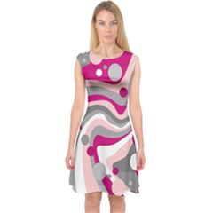 Magenta, pink and gray design Capsleeve Midi Dress