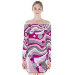 Magenta, Pink And Gray Design Long Sleeve Off Shoulder Dress