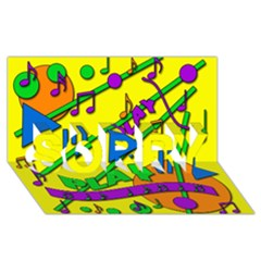 Music SORRY 3D Greeting Card (8x4)