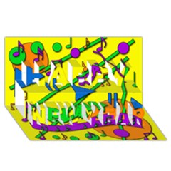 Music Happy New Year 3D Greeting Card (8x4)