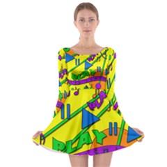 Music Long Sleeve Skater Dress