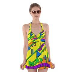 Music Halter Swimsuit Dress