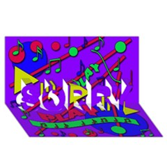 Music 2 SORRY 3D Greeting Card (8x4)