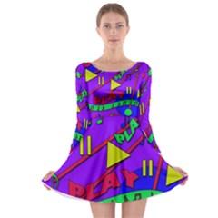 Music 2 Long Sleeve Skater Dress