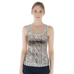 Rough Cable Knit Racer Back Sports Top