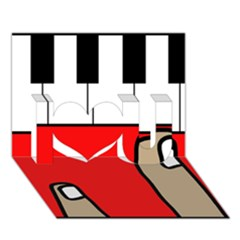 Piano  I Love You 3D Greeting Card (7x5)