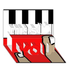 Piano  Miss You 3d Greeting Card (7x5)