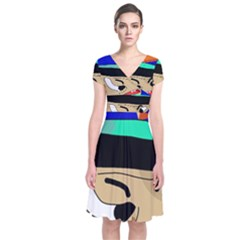 Accident  Short Sleeve Front Wrap Dress