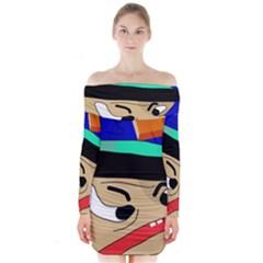 Accident  Long Sleeve Off Shoulder Dress