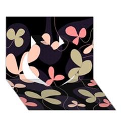 Elegant floral design Heart 3D Greeting Card (7x5)