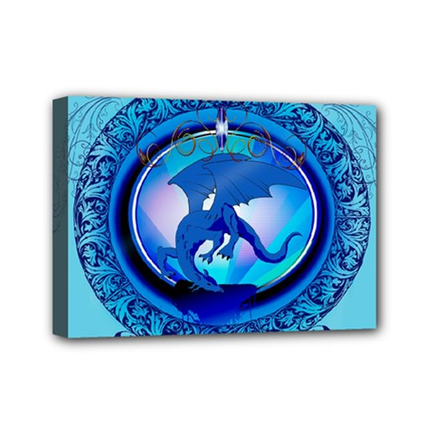 The Blue Dragpn On A Round Button With Floral Elements Mini Canvas 7  X 5