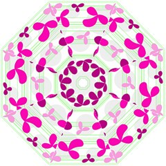 Magenta floral pattern Hook Handle Umbrellas (Medium)