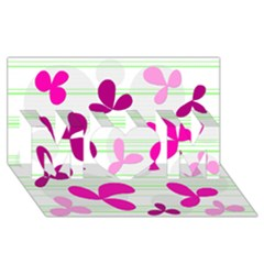 Magenta floral pattern MOM 3D Greeting Card (8x4)