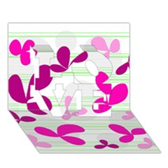 Magenta floral pattern LOVE 3D Greeting Card (7x5)