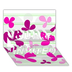 Magenta floral pattern YOU ARE INVITED 3D Greeting Card (7x5)