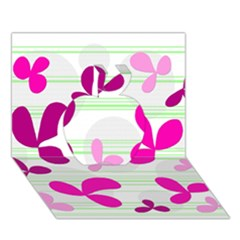 Magenta floral pattern Apple 3D Greeting Card (7x5)