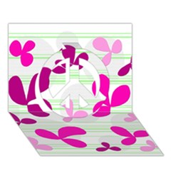 Magenta floral pattern Peace Sign 3D Greeting Card (7x5)