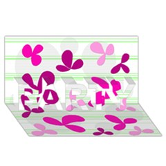 Magenta floral pattern PARTY 3D Greeting Card (8x4)