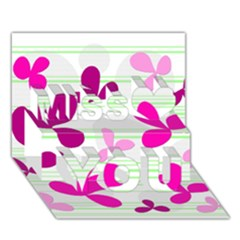 Magenta Floral Pattern Miss You 3d Greeting Card (7x5)