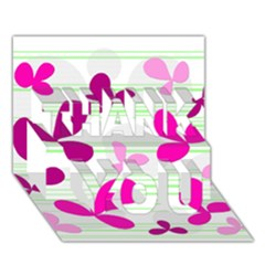 Magenta floral pattern THANK YOU 3D Greeting Card (7x5)