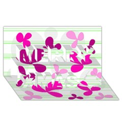 Magenta floral pattern Merry Xmas 3D Greeting Card (8x4)