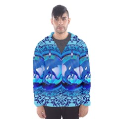 The Blue Dragpn On A Round Button With Floral Elements Hooded Wind Breaker (men)