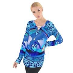 The Blue Dragpn On A Round Button With Floral Elements Women s Tie Up Tee