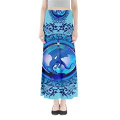 The Blue Dragpn On A Round Button With Floral Elements Maxi Skirts