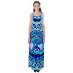 The Blue Dragpn On A Round Button With Floral Elements Empire Waist Maxi Dress