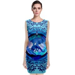 The Blue Dragpn On A Round Button With Floral Elements Classic Sleeveless Midi Dress