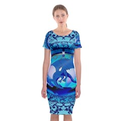 The Blue Dragpn On A Round Button With Floral Elements Classic Short Sleeve Midi Dress