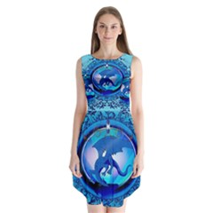 The Blue Dragpn On A Round Button With Floral Elements Sleeveless Chiffon Dress