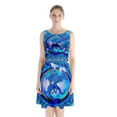 The Blue Dragpn On A Round Button With Floral Elements Sleeveless Chiffon Waist Tie Dress