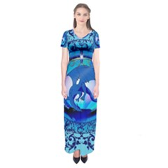 The Blue Dragpn On A Round Button With Floral Elements Short Sleeve Maxi Dress