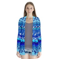 The Blue Dragpn On A Round Button With Floral Elements Drape Collar Cardigan