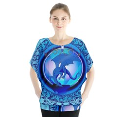 The Blue Dragpn On A Round Button With Floral Elements Blouse
